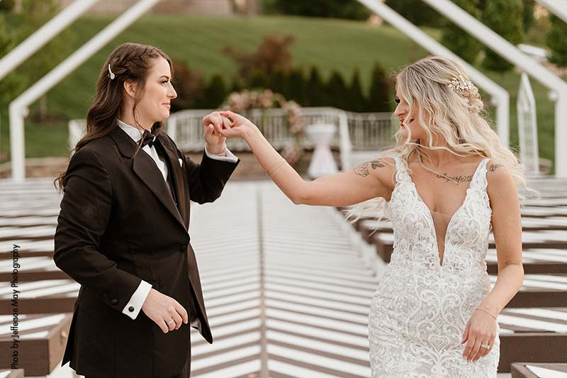 Black and white outdoor wedding chapel in Kansas City