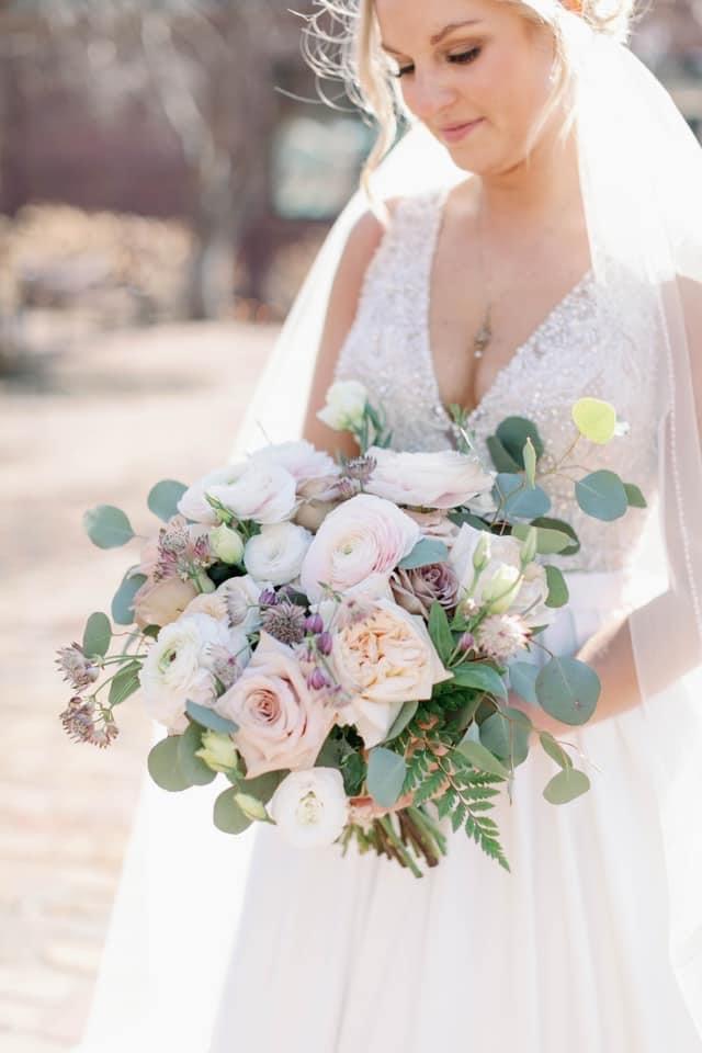 Clooney ranunculus bridal bouquet