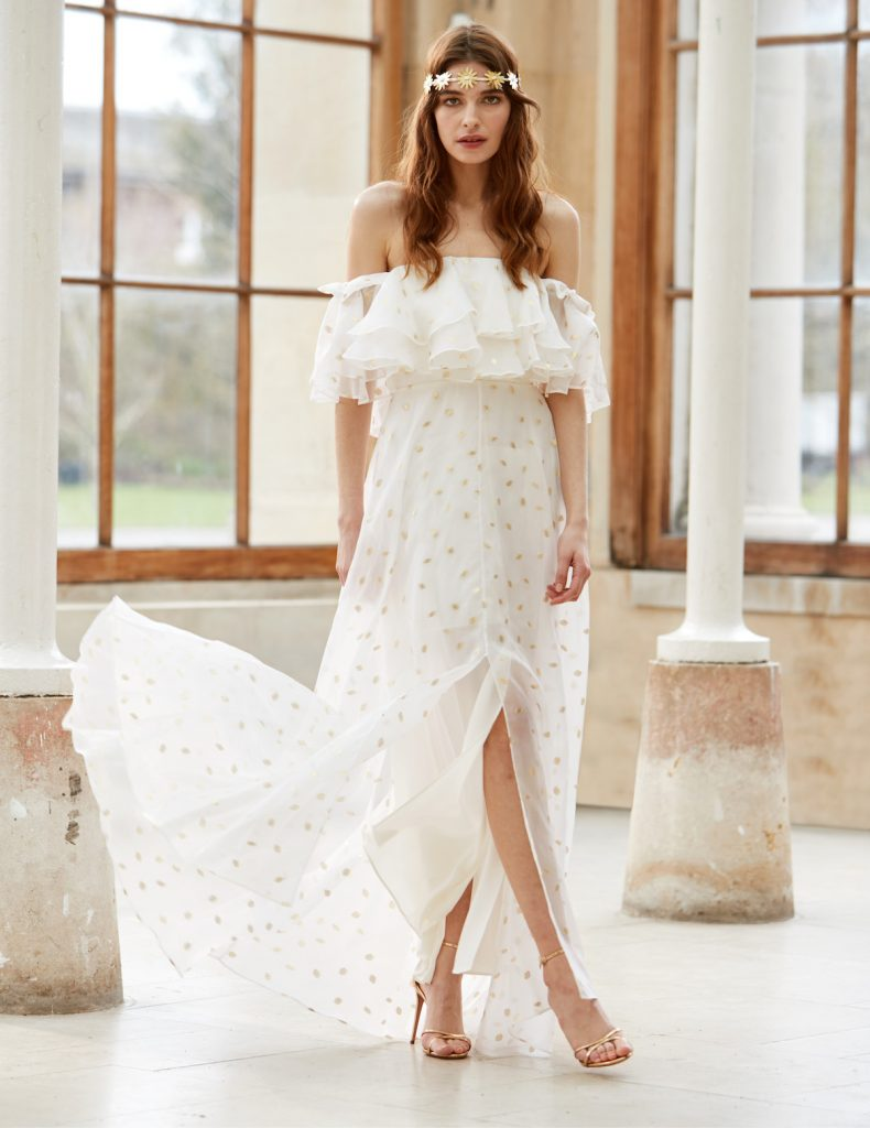 Off-the-shoulder ruffle neckline boho bridal gown