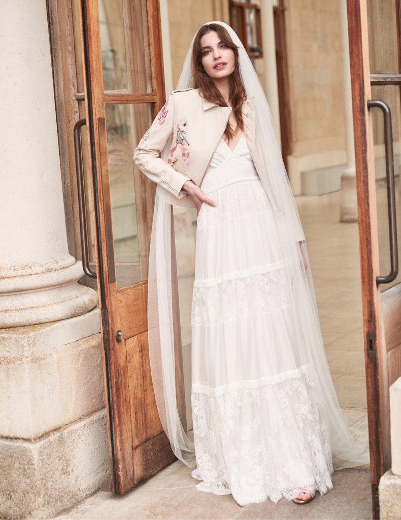 Tiered skirt silk chiffon bridal gown