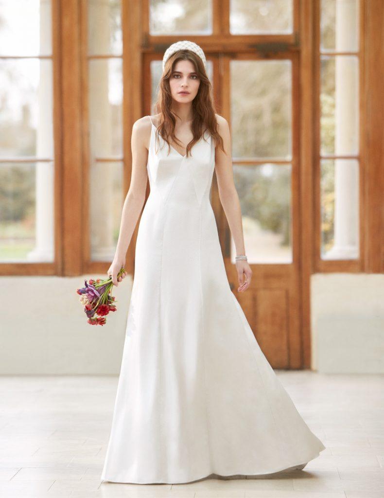 Spaghetti strap v-neck bridal dress by Temperley