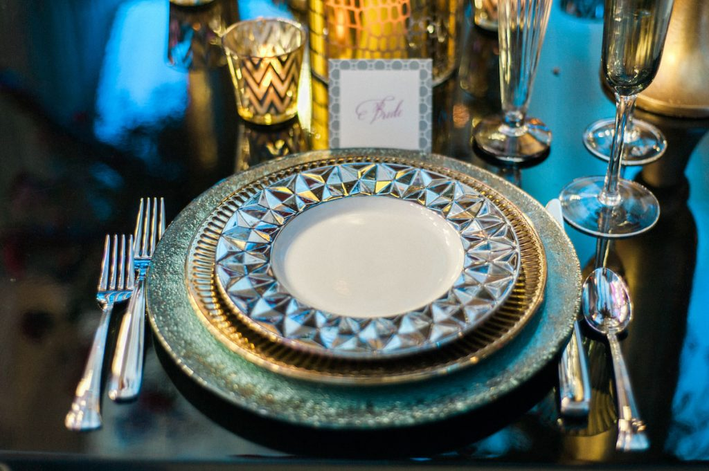 Blue and silver geometric wedding table