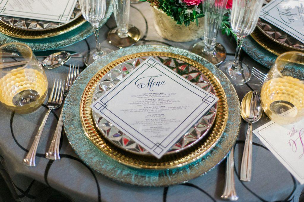 Diamond-shaped wedding menu