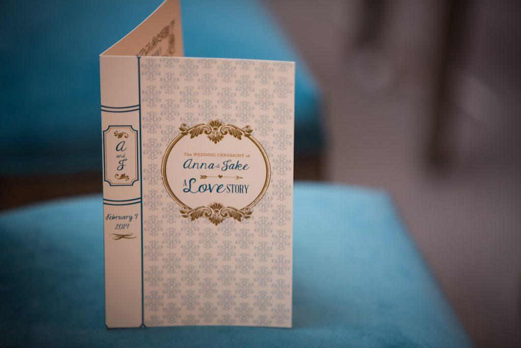 Wedding invitation book-themed