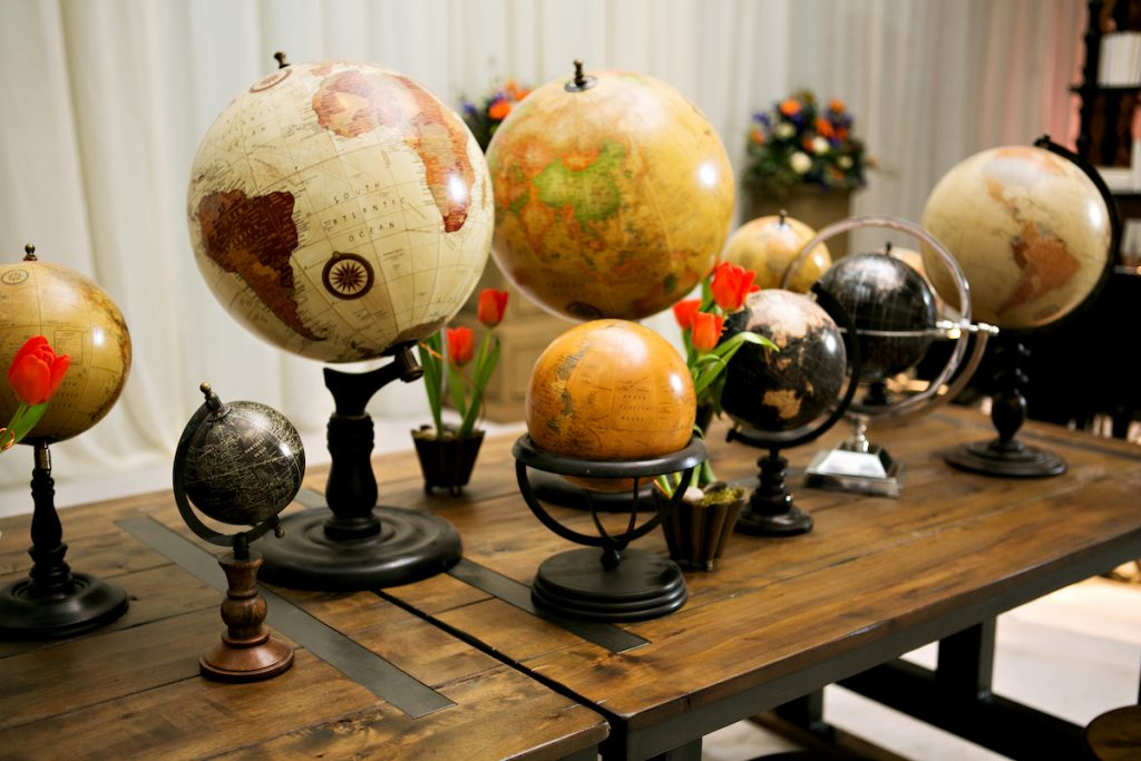 Globes as wedding decor in Minneapolis