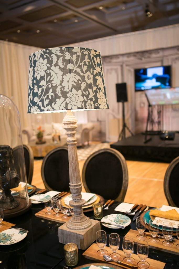 Textured black and white lamp shade as wedding decor