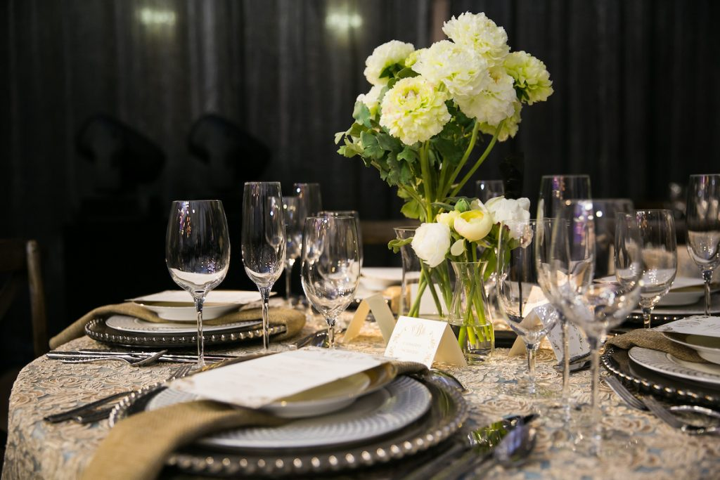 Baroque industrial wedding table with mixed metals