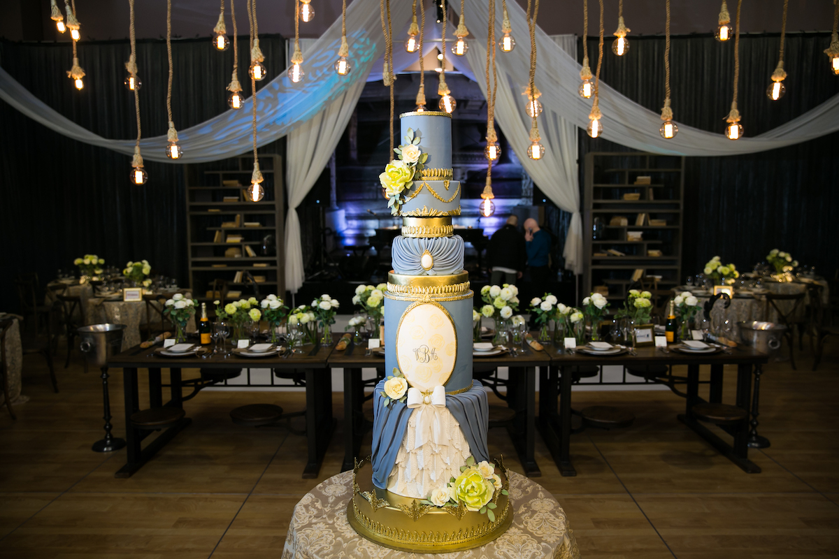 Gold and blue baroque wedding cake