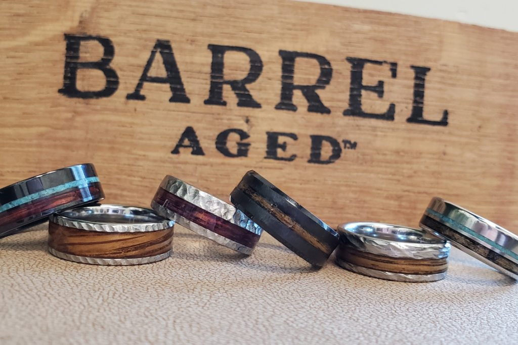 Whiskey barrel-aged wedding bands at Arthur's Jewelers