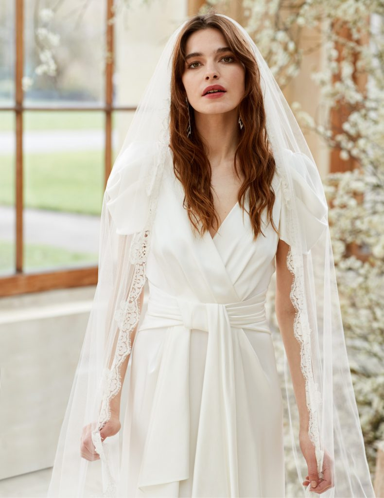 Crepe bridal gown with tie around waist