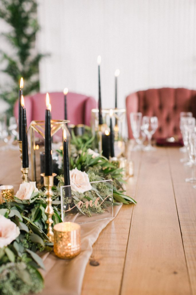 Clear acrylic wedding table number