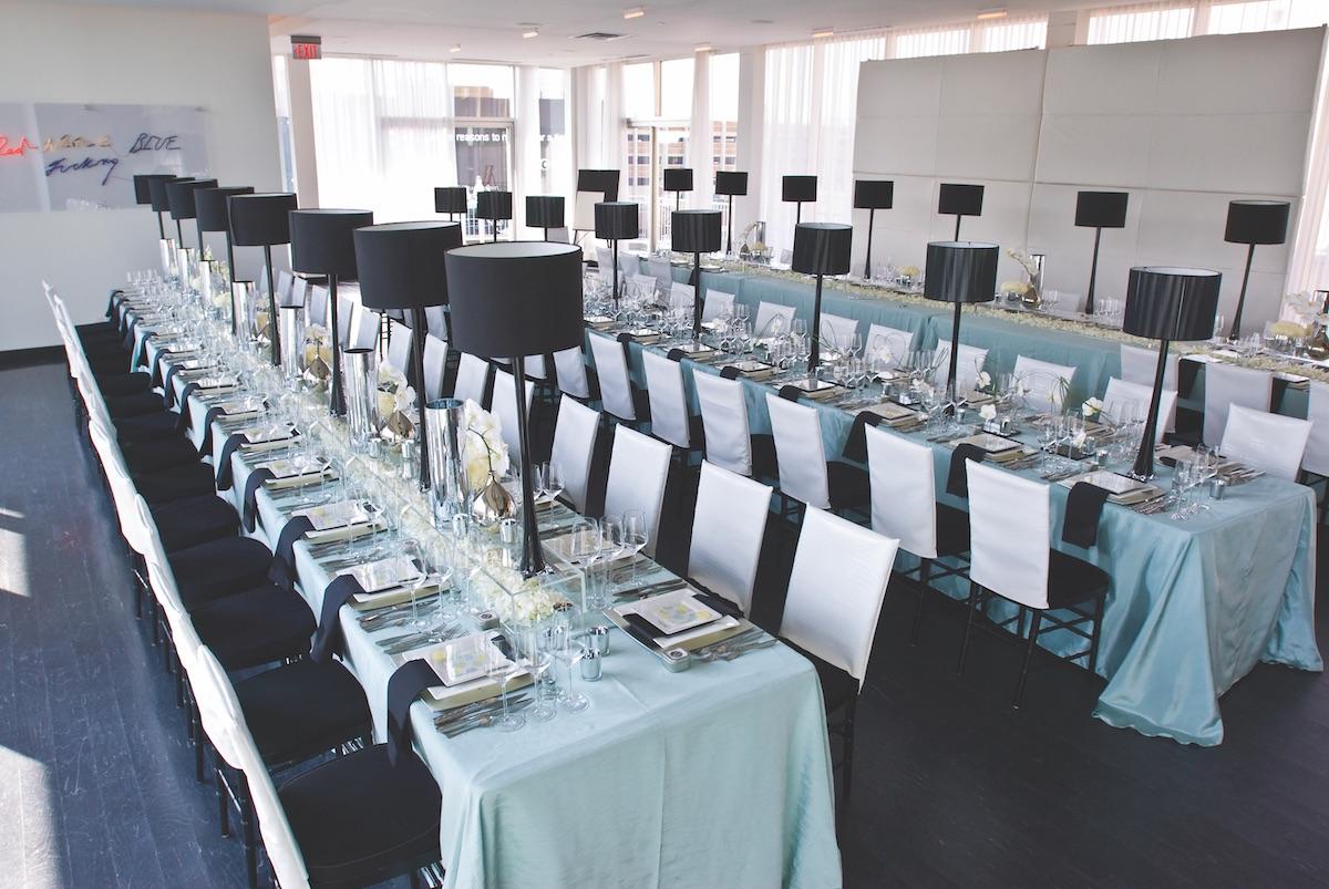 Black and white wedding reception set up