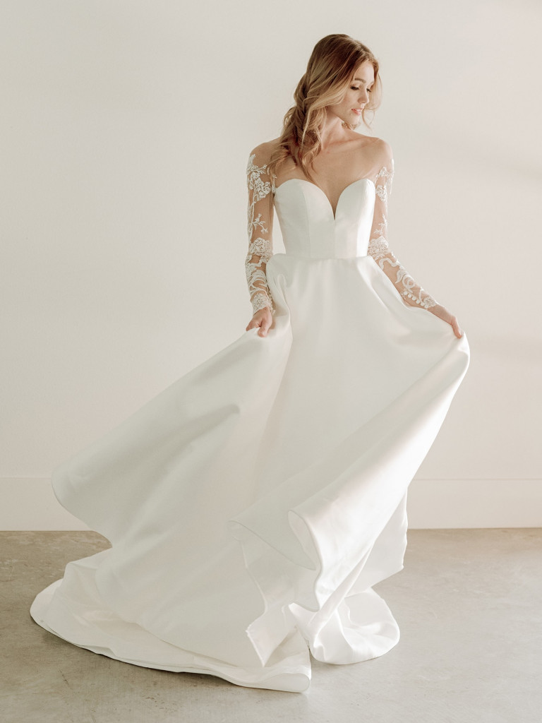 Long-sleeved naked lace bridal gown by Van Der Velde