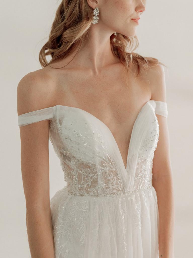 See-through bodice bridal dress by Van Der Velde