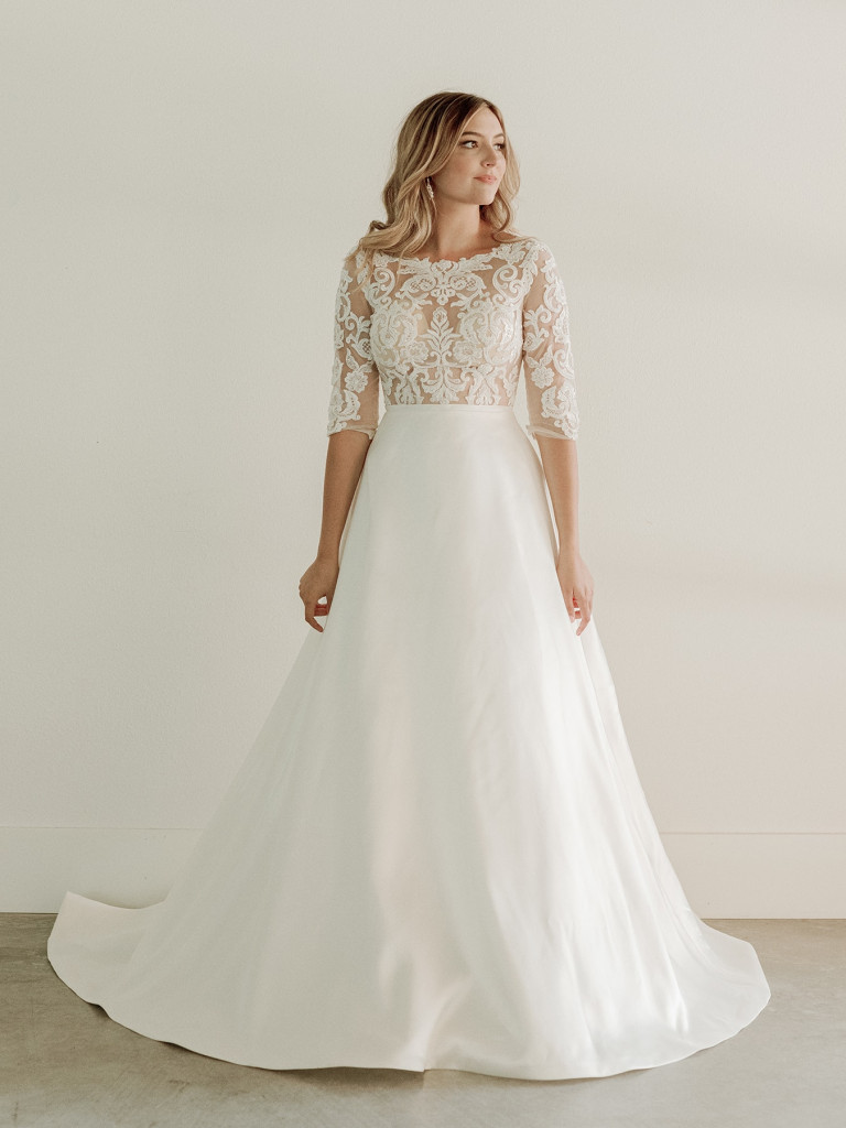 Embellished 3/4 sleeve bridal gown with ballgown skirt