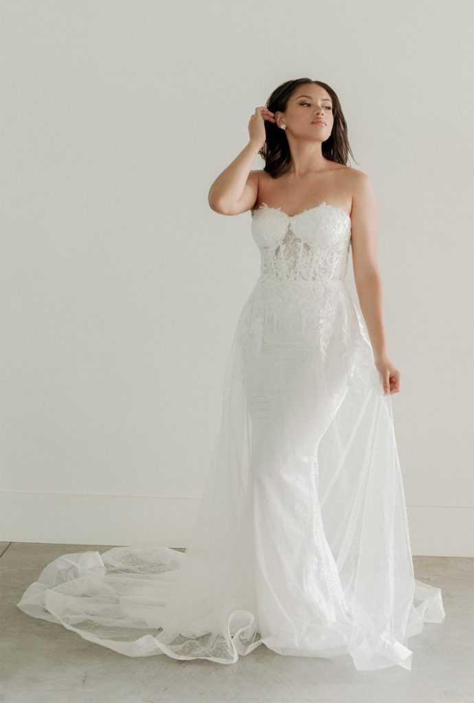 Corset bodice bridal gown with overskirt