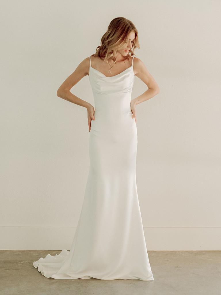 Satin cowl neck bridal gown