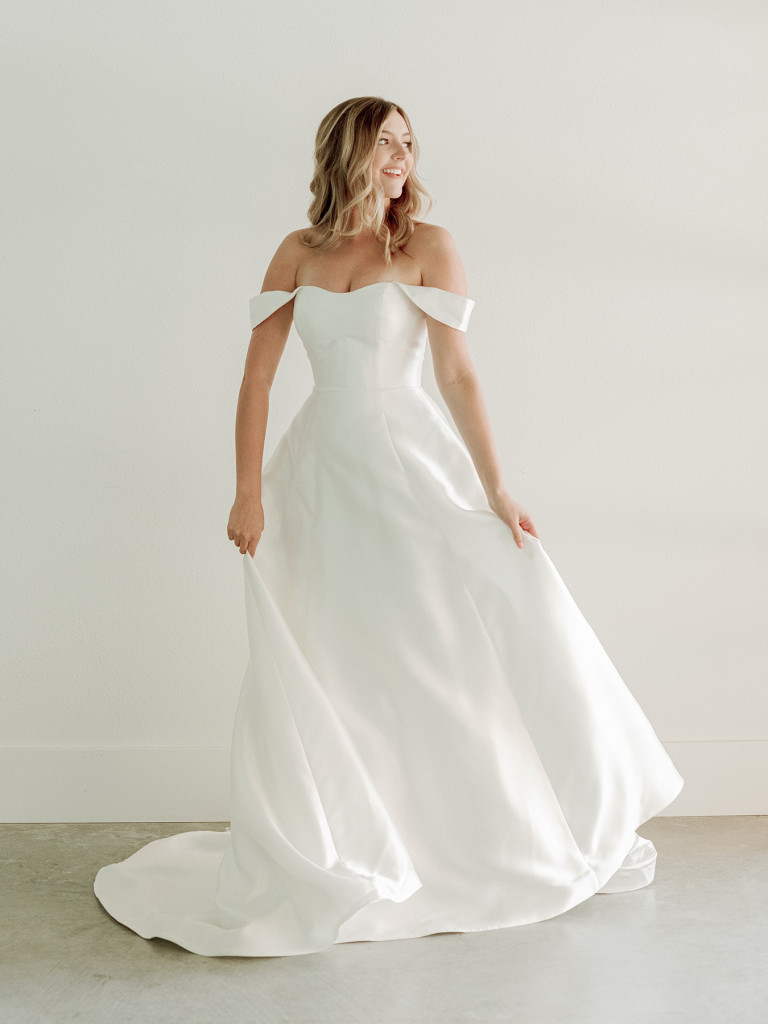 Classic bridal ball gown with chapel length train