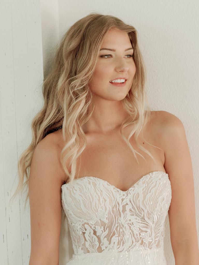 Embellished illusion bodice bridal gown