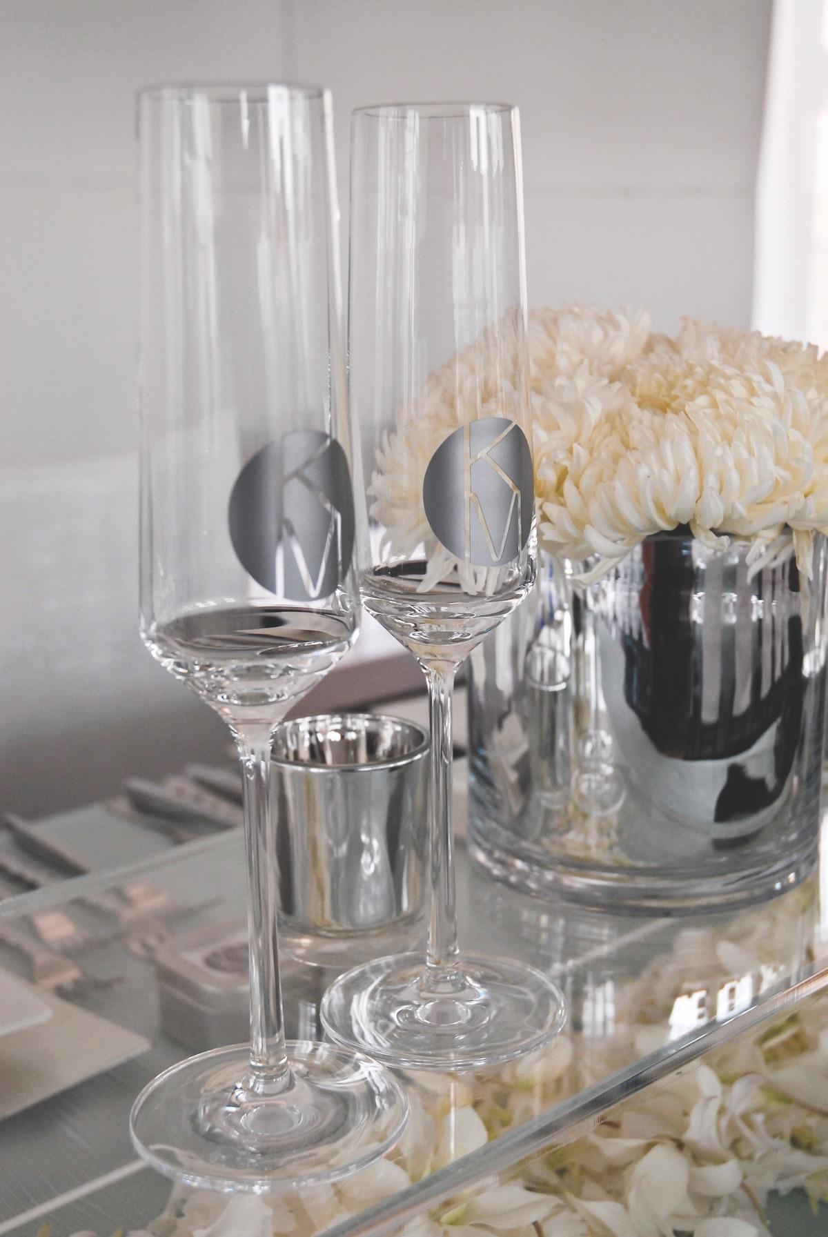 Modern art wedding champagne flutes with custom monogram