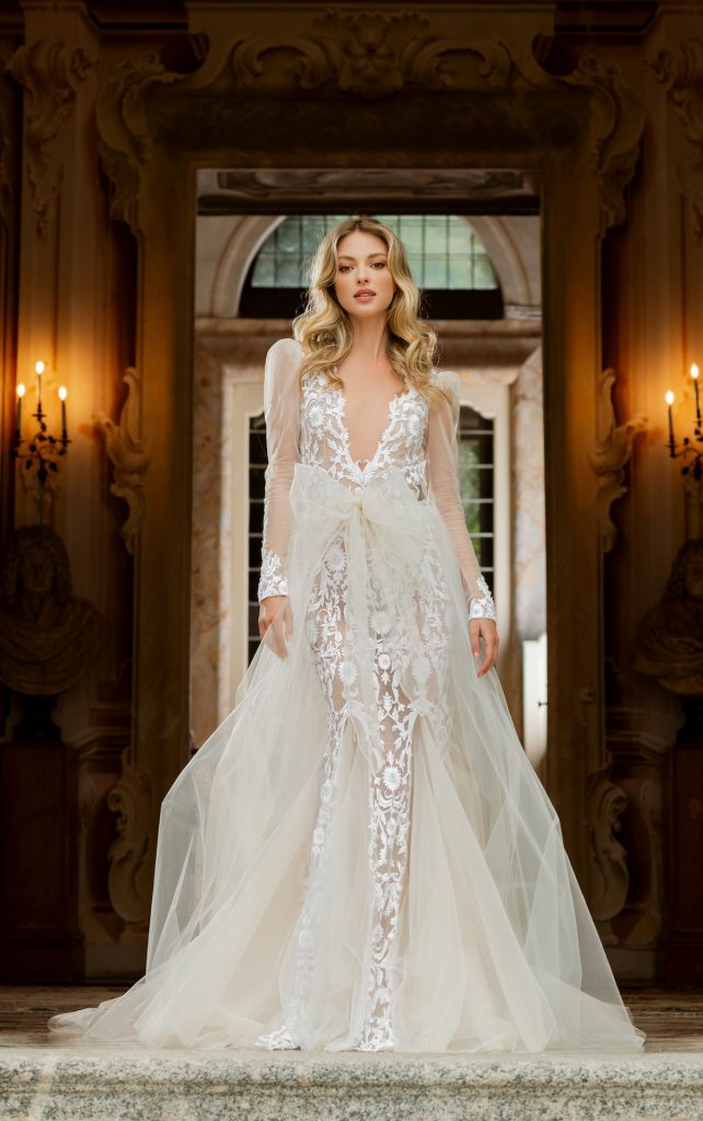 Long-sleeve bridal gown with floral applique