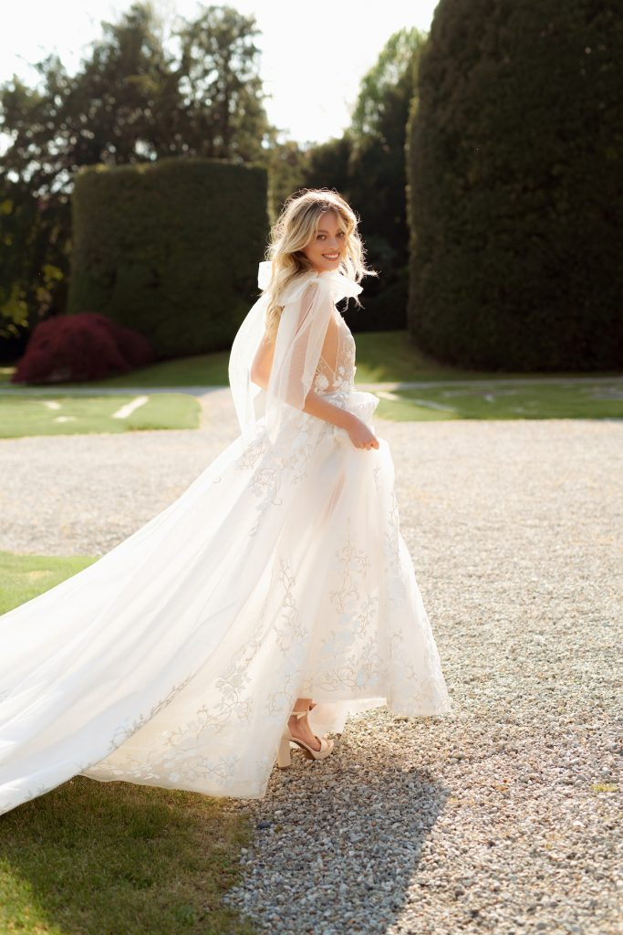 Luxury bridal gown with long skirt