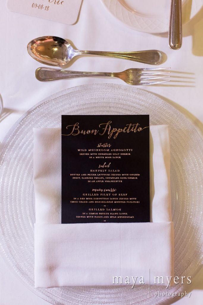 Black and gold wedding menu