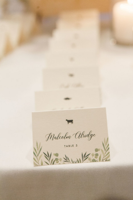 Greenery wedding menu card