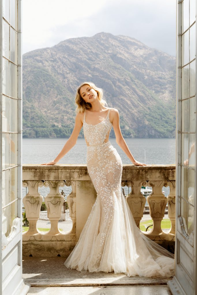 Fit and flare body hugging bridal gown