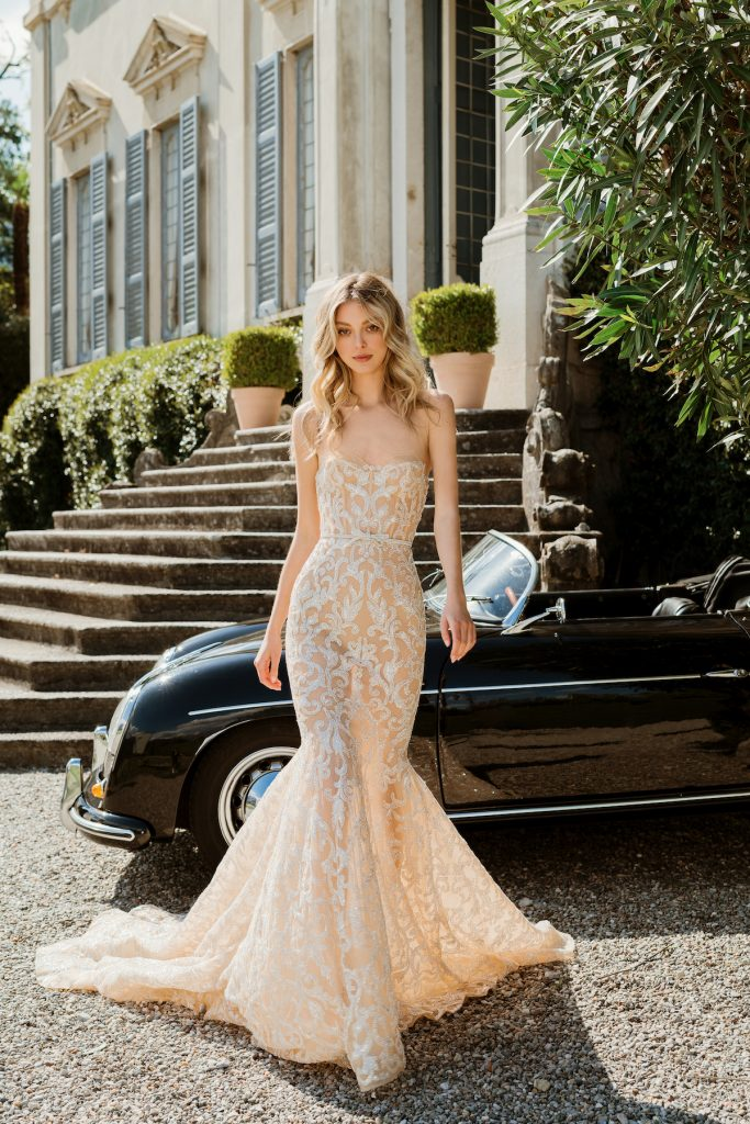 Nude lace bridal gown