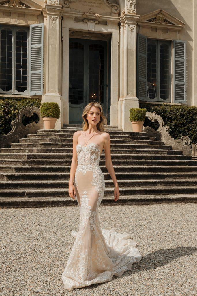 Nude embellished wedding dress