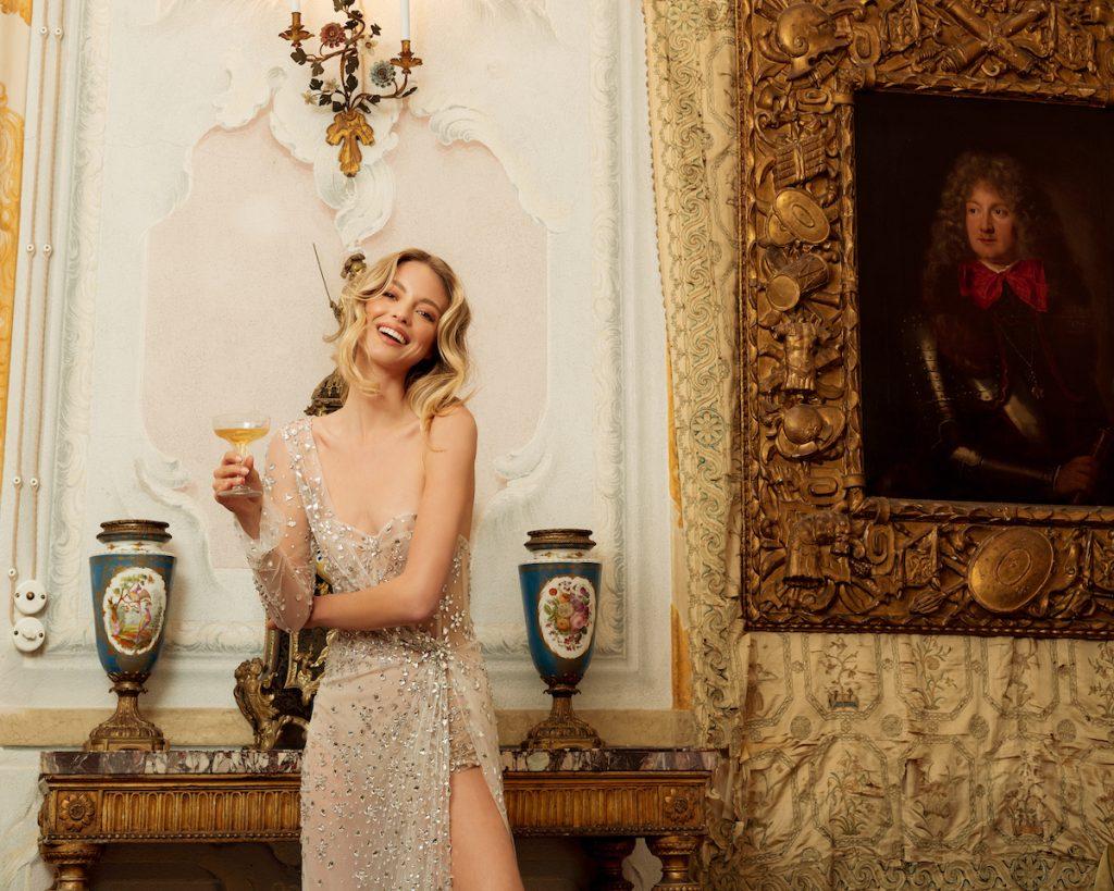 Gold sequin high slight wedding dress