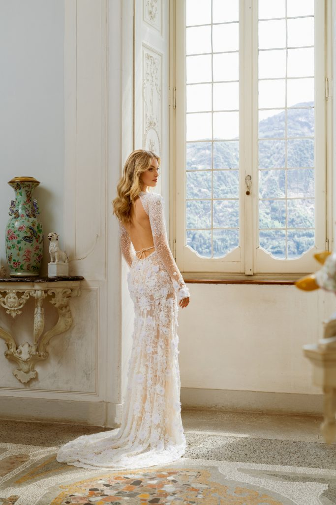 Open back long sleeve bridal gown