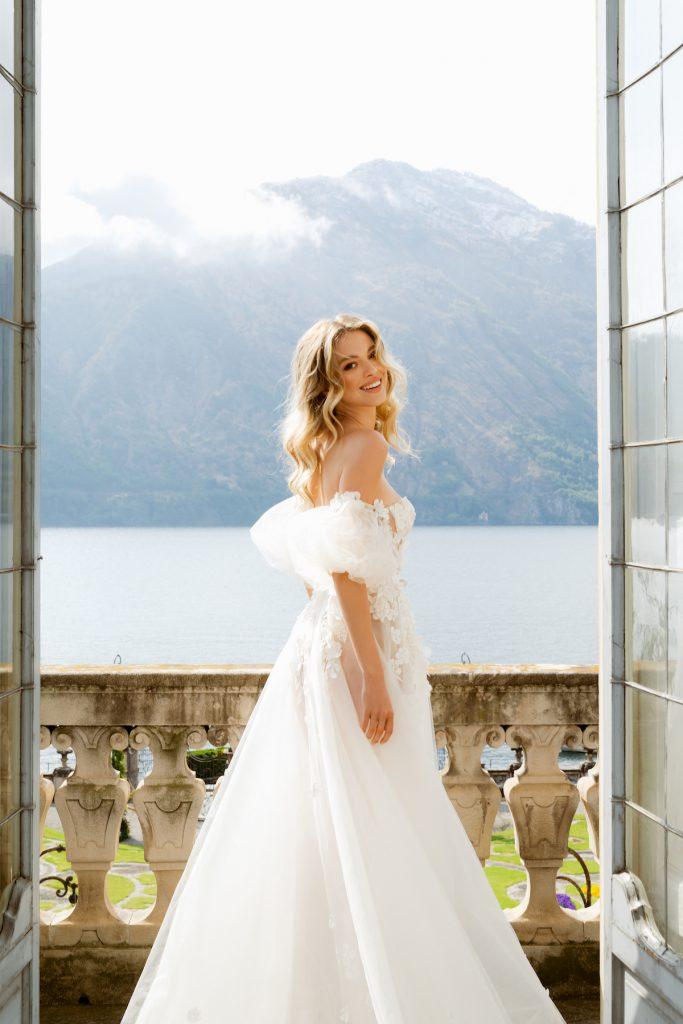 Off-the-shoulder puff sleeve wedding dress