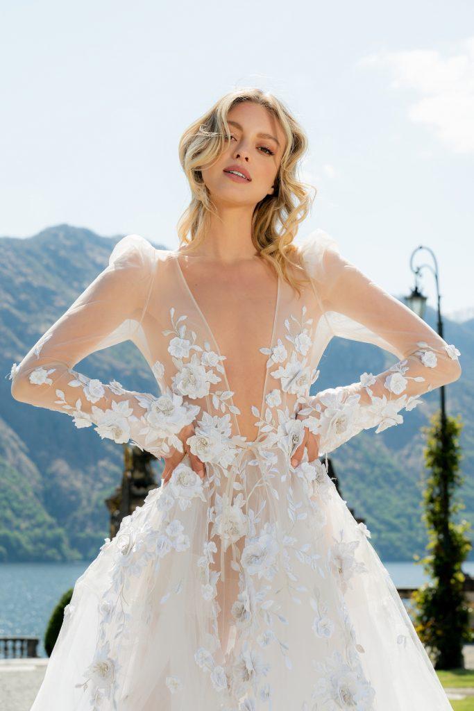 Low cut unique floral bridal gown