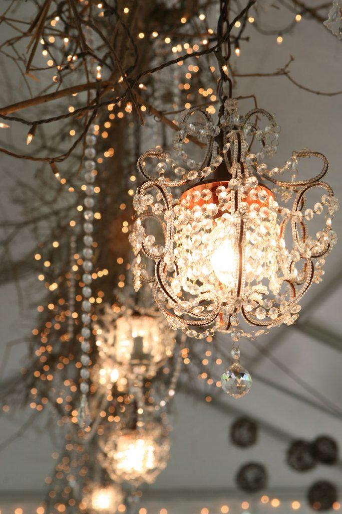 Teardrop chandeliers as wedding decor