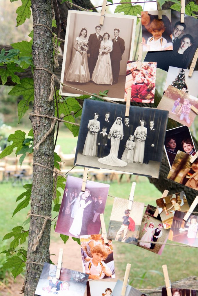 Family member remembrance photos at wedding