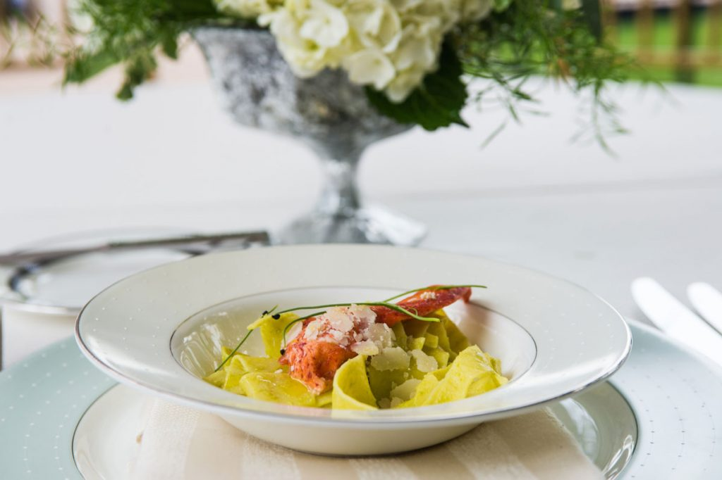 Wedding entree with lobster papardelle
