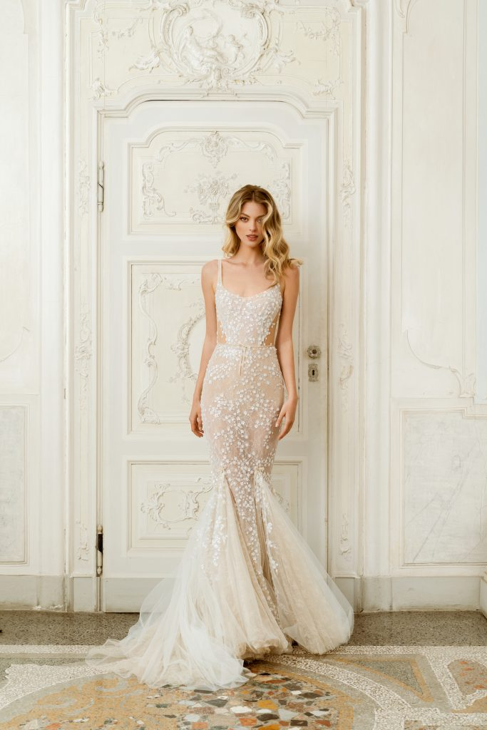 Square neck mermaid fit couture bridal gown
