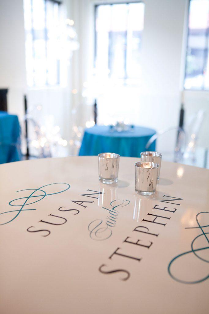 "Custom tabletop wedding vinyl that says ""Susan and Stephen"""