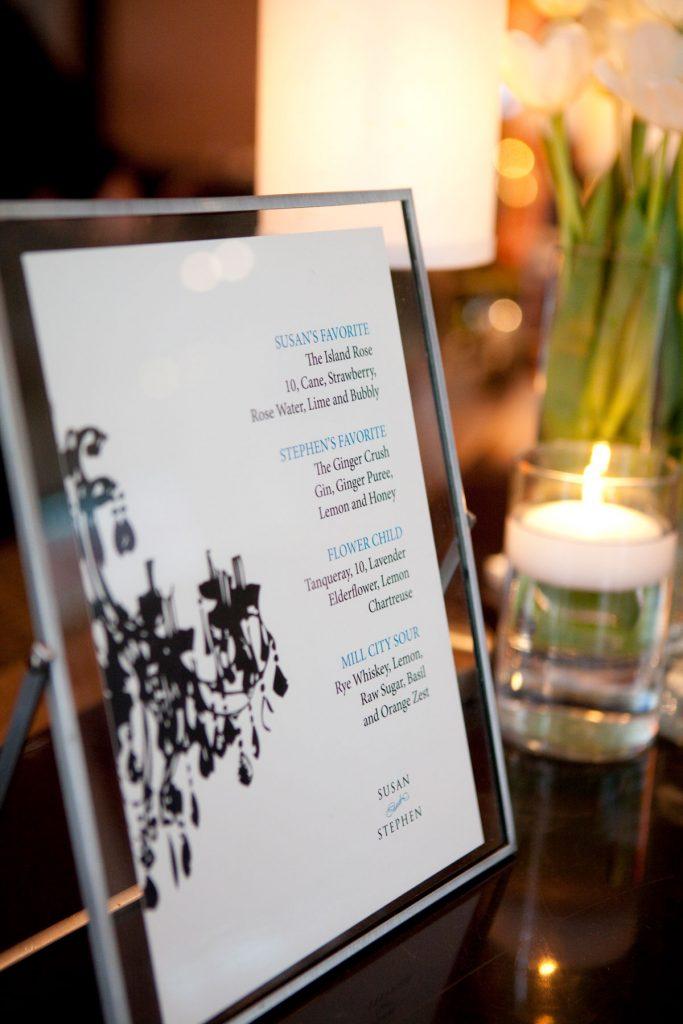 Wedding bar menu with black chandelier graphic