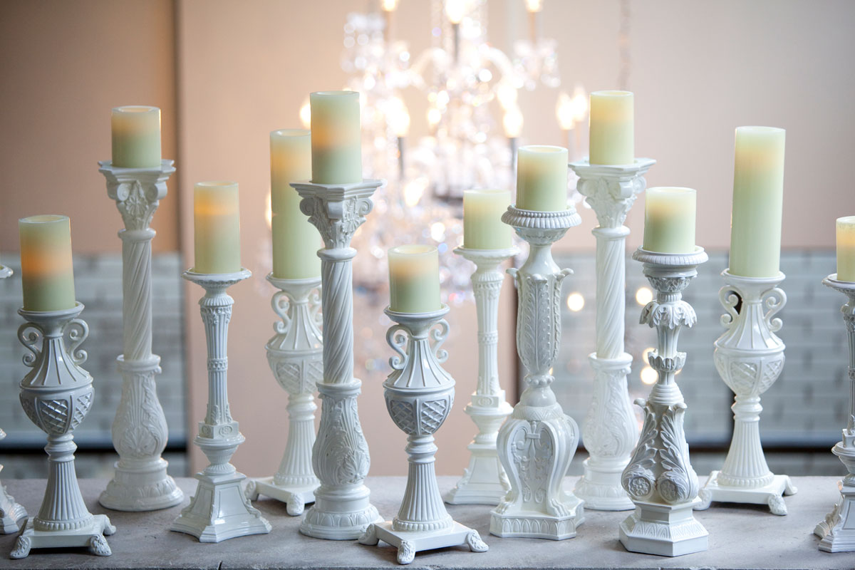 Vintage white candle holders
