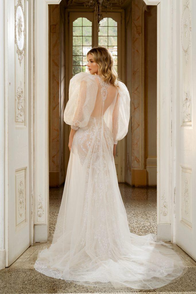 Puff sleeve modern wedding dress by Berta Como