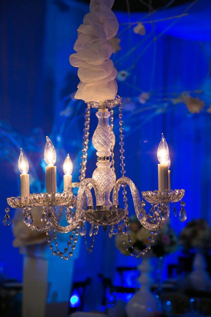 White wedding decor chandelier