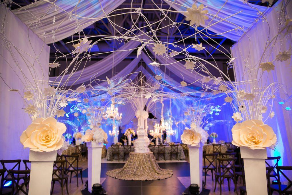Wedding ceremony with paper flower decor