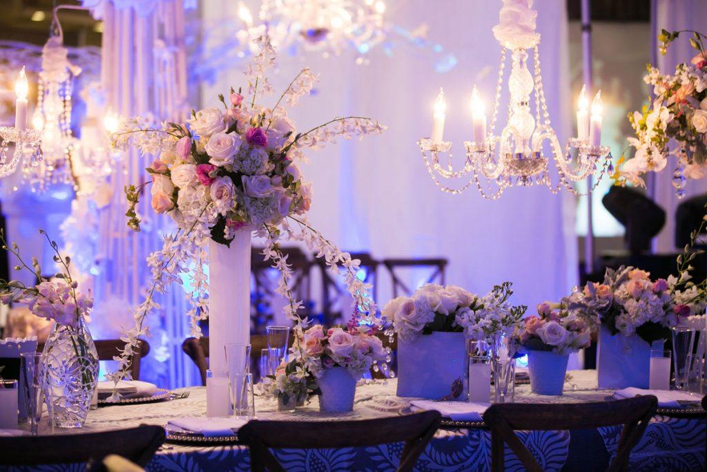 Modern white wedding centerpieces