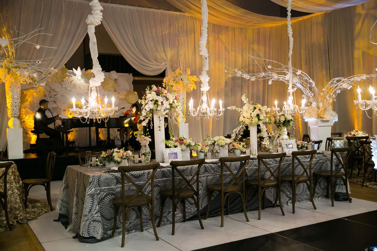 Petal wedding floral-themed reception