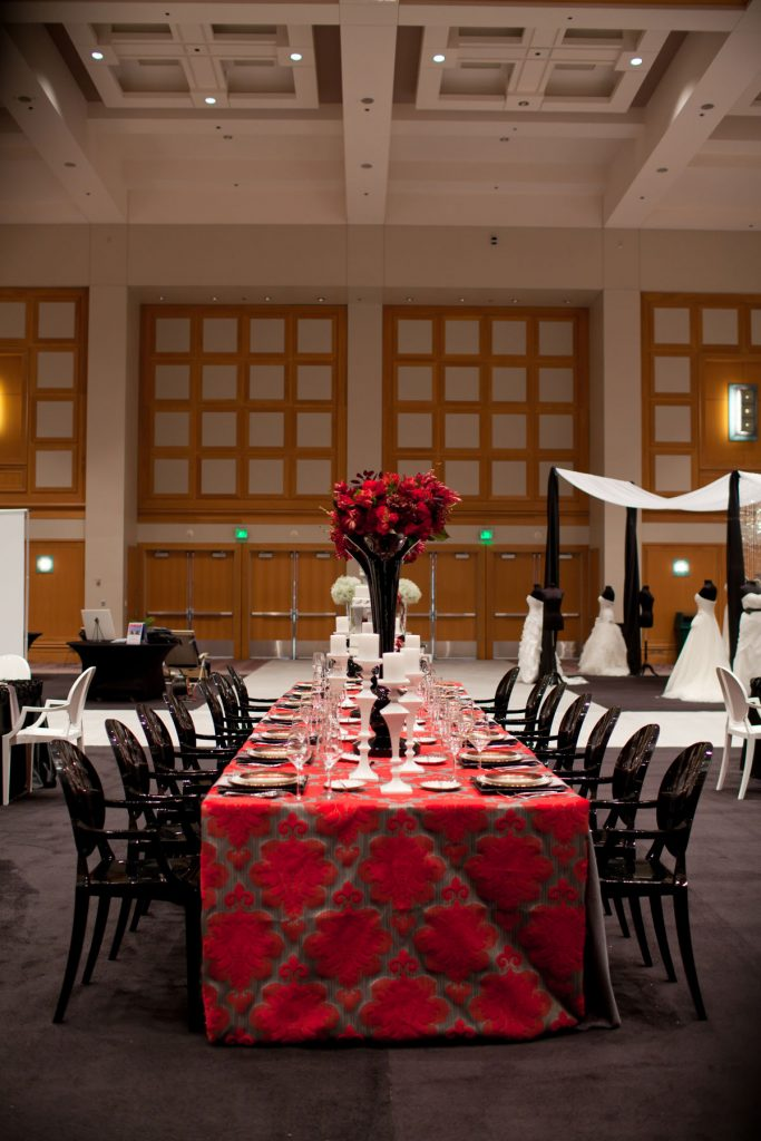 Black white and red wedding head table