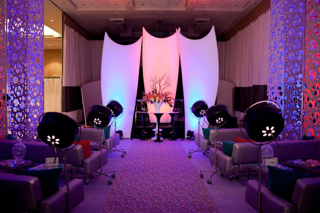 Low lit wedding ceremony