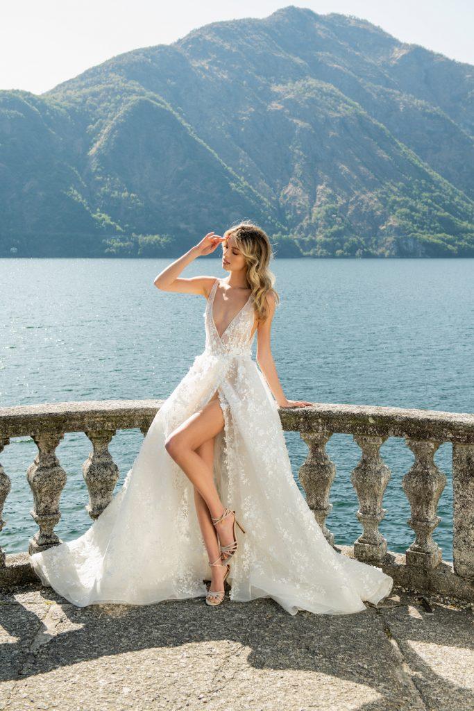 Berta Como high slit modern bridal gown